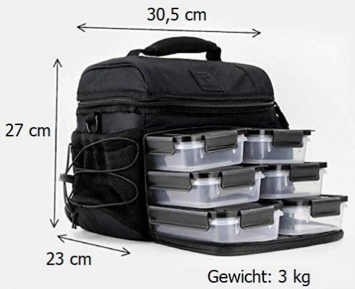 6 Meal Cooler Bag - Black